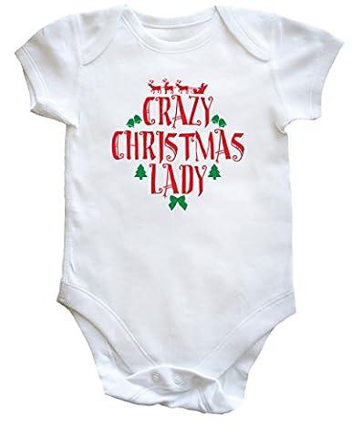 hippowarehouse Crazy de Noël pour femme Lady bébé garçons filles - blanc - 24 mois
