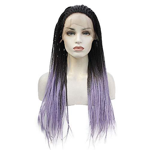 Farbverlauf lange Braid Perücke für Frauen Lace Front synthetische lila (Peru Kostüme Frauen)