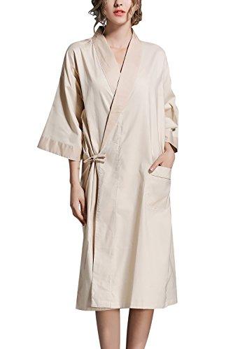 Dolamen Unisex Damen Herren Morgenmantel Kimono, Bettwäsche aus Baumwolle Nachtwäsche Bademantel Robe Kimono Negligee locker Schlafanzug, Büste 130cm, 51,18 Zoll, große Größe für alle (Beige) (Baumwoll-leinen-robe)