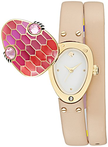 Kate Spade New York Women's ' Quartz Stainless Steel and Leather Casual Watch, Color Beige (Model: KSW1274)