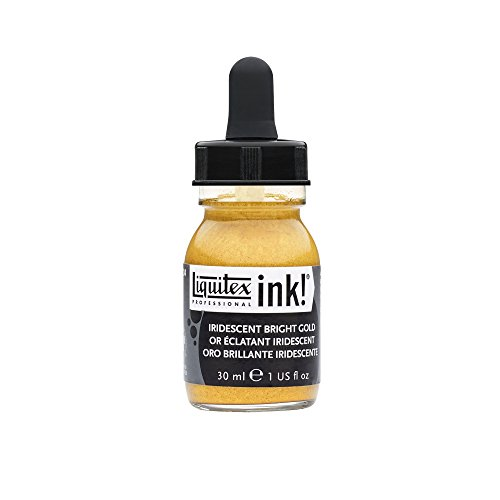 Liquitex 4260234 Ink Professional flüssige Acrylfarben, Tusche, 30 ml, hochpigmentierte Airbrushfarbe, lrisierendes helles gold (Pigment-farbe)