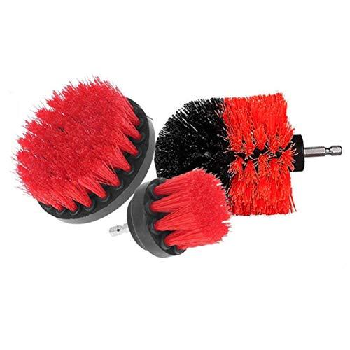 CHRONSTYLE 3 Pcs Reinigungsbürste Satz Kreative Badewanne/Bodenfliesen / Teppich Reinigen Pinsel Küchenmöbel Runder Elektrischer Cleaning Brush (Rot)