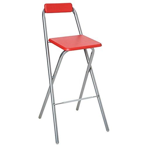AC-Déco Chaise de Bar Pliable - Lot de 2 - Rouge - Louna