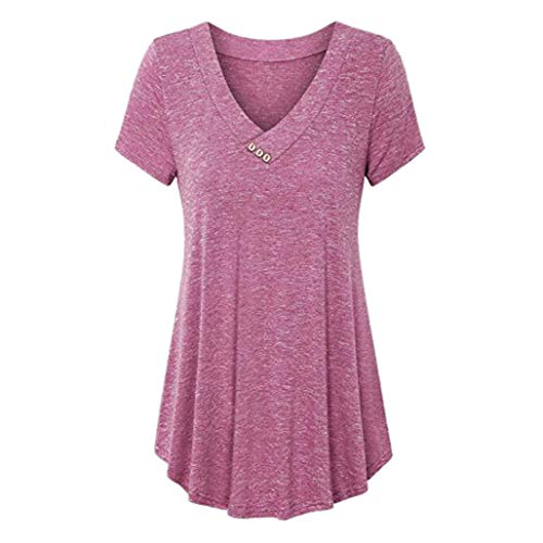 JUTOO Frauen Casual Plus Size V-Ausschnitt Solid Tops Knopf Kurzarm Bluse Shirt(Rosa,EU:40/CN:M)