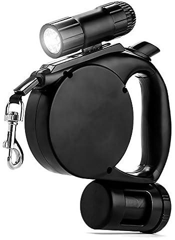 micup 3in 1Flexi-Leine mit LED Licht und Hunde-Kotbeutel-Spender, Dicke & verstellbarem 16.4Fuß LEASHES