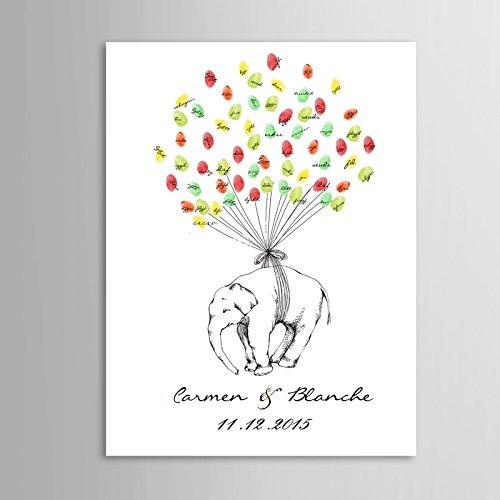Fingerabdruck Signature Leinwand Gästebuch Luftballons Elefant Hochzeit Geschenk Hochzeit Dekoration (inklusive 12Tinte Farben) 32x48inch 80x120cm