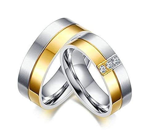 SanJiu Jewelry Couple Ring Wedding Rings 7MM Stainless Steel Ring with CZ Cubic Zirconia Promise Anniversary Engagement Charm Ring for Men Gold Silver Size T 1/2
