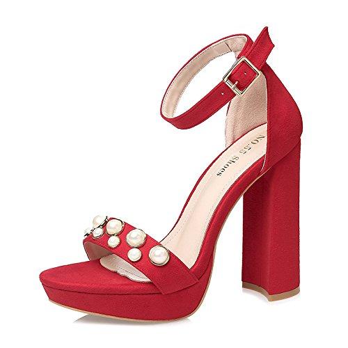 LGK&FA Una Fibbia Tacco Alto Sandali Perline Impermeabile Grossolane Scarpe Da Punta Tutto-Match 39 Rosa 36 red