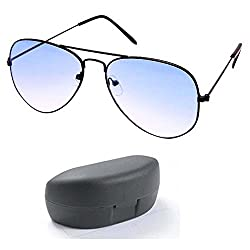 Younky Sunglasses For Mens (Black Frame - Half Blue) (New-Av-001)