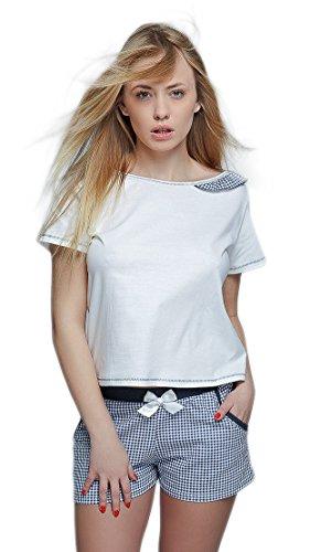Sensis charmantes Nachtwäsche-Set aus feinem Baumwoll-Shirt und koketten Shorts (S (36), blau/weiß kariert mit Rüsche) (Print Set Bund Elastischer Pyjama)