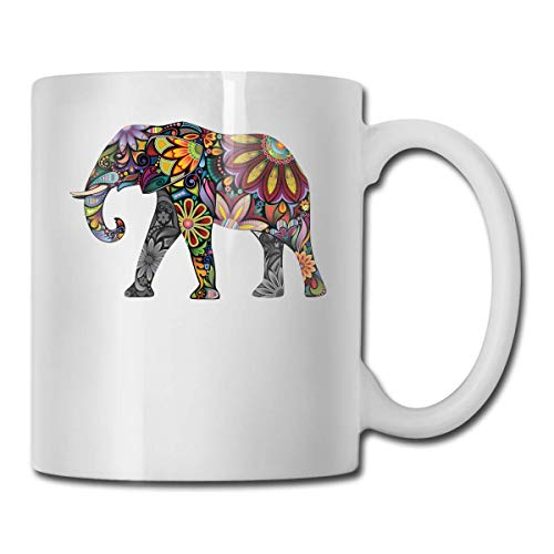 Daawqee Becher Coffee Mug Bohemian Elephant Mug Funny Ceramic Cup for Coffee and Tea with Handle, White (Slow Cooker Thermo Tiger)