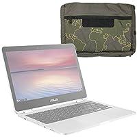 DURAGADGET Bolso Con Bandolera Verde Con Mapamundi Para Portátil Asus Chromebook Flip C302CA , PRO B9440 , ZenBook Flip UX360UA , ZenBook 3 Deluxe (UX490UA) - Con Múltiples Bolsillos