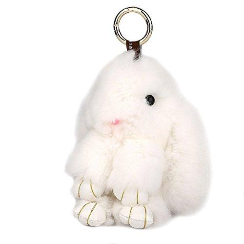 en-fourrure-de-lapin-cle-chaine-sac-charme-blanc