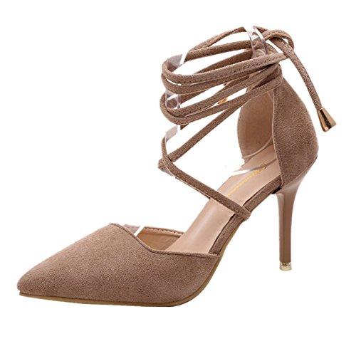 Elecenty Sandalen Damen Schuhe,Schuh Sommerschuhe Shoes Sandaletten Frauen Wildleder High Heels Hoch Absatz Niet Badesandalette Pumps Elegante Knöchelriemchen Strandschuhe Elegant - 2