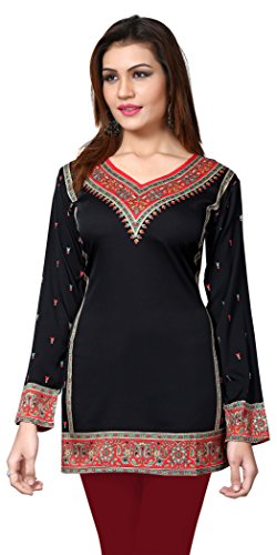 Eternal Women's Printed American Crepe Short Kurta Kurti Tunic Top( TDFA465-BLACK_XS, Black)
