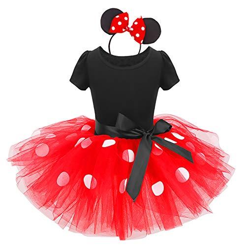IWEMEK Säuglings Kleinkind Baby Mädchen Prinzessin Tüll Kleid Polka Dot Ballettkeider Trikot Tanzkleider Weihnachten Karneval Cosplay Kleid mit Maus Ohren Bowknot Partykleid Outfits Rot 3-4 Jahre (Tanzen Kostüm Kinder)