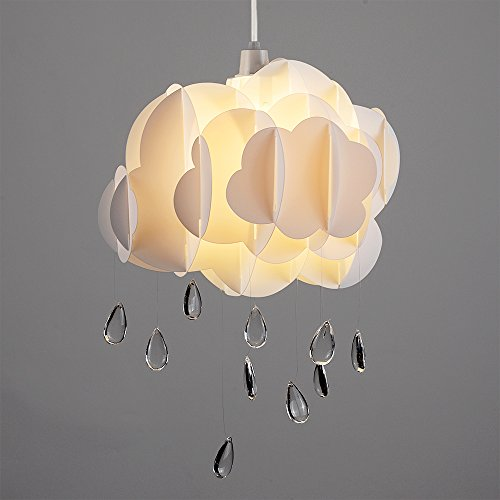 Cute Children's Bedroom / Baby Nursery White Layered Rain Cloud With Acrylic Jewel Raindrop Water Droplets Ceiling Cot Mobile Pendant Light Shade