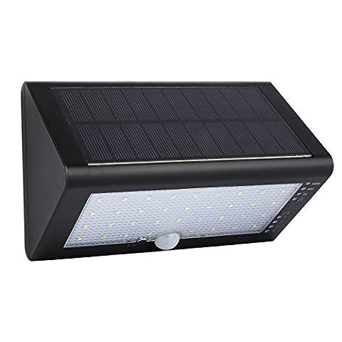 [35 LED] LESHP Lampe Solaire Extérieure Étanche IP65 600 lumens Luminaire Exterieur/ Spot Exterieur 120°Grand Angle Rechargeable avec Détecteur de Mouvement et Paneau Solaire pour Pati, jardin, cour, chemin,escaliers, clôture