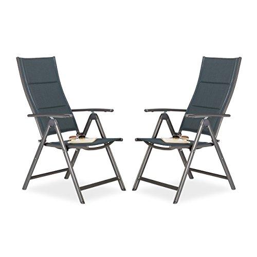 Gepolsterte Stoff-klappstuhl (2 x Gartenstuhl im Set, Hochlehner klappbar, gepolstert, Rückenlehne verstellbar, Klappstuhl fürs Camping, anthrazit)