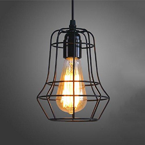 Mife Metallkäfig Eisen Loft Industrie Deckenleuchte Anhänger Kronleuchter Lampe Retro Esszimmer Dekor E27 schwarz 110V ~ 240V