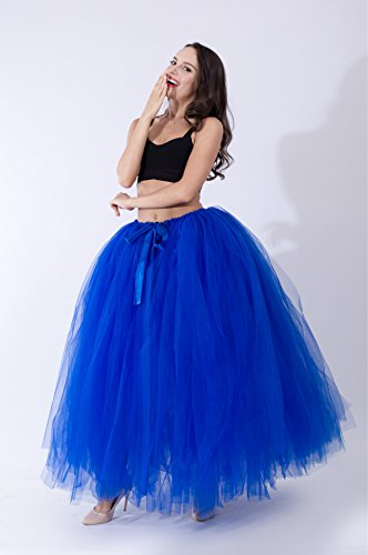 Honeystore Damen's Rock Tutu Tuturock Tütü Petticoat Tüllrock mit Gummizug für Karneval, Party und Hochzeit Rötlich-Blau