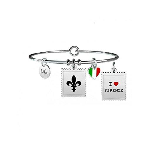 KIDULT - BRACCIALE IN ACCIAIO 316L CON SMALTO E CIONDOLO FRANCOBOLLO FIRENZE - COD 731232
