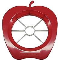FACKELMANN Apfelteiler, Apfelportionierer aus Kunststoff und Funktionsteil aus rostfreiem Edelstahl, Birnenschneider (Farbe: Rot oder Grün - nicht frei wählbar), Menge: 1 Stück