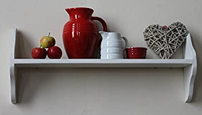 One tier shelf, solid wood, white, 6 sizes available