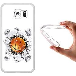 WoowCase - Funda Gel Flexible [ Samsung Galaxy S6 ] Balon de Baloncesto Carcasa Case Silicona TPU Suave