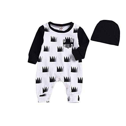 PLOT❤Boys Long Sleeve Crown Romper Jumpsuit Hat Clothes Newborn Baby Outfit 0-2T