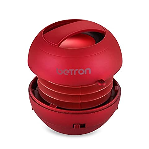 Betron JRS40 Pop Up Portable Mini Travel II Capsule Rechargeable 40mm Speaker For Iphone, iPod, Ipad, Tablets and MP3 Players - Red