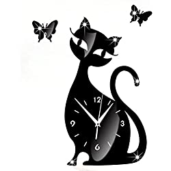 Malloom Lindo gato mariposa espejo negro pared reloj moderno diseño Home Decor Reloj pared adhesivo