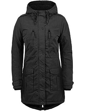 DESIRES Lotta Damen Parka lange Jacke Winter-Mantel mit Kapuze und Teddy-Futter aus hochwertiger Baumwollmischung