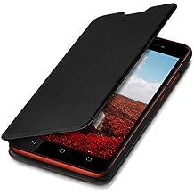 kwmobile Funda para Wiko Lenny 2 - Flip cover Case para móvil en cuero sintético - Estilo libro plegable negro