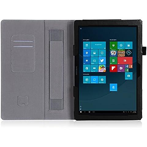 ISIN Funda para Tablet Serie Funda de Premium PU con Stand Función para Samsung Galaxy TabPro S 12 de 12,0 pulgadas WIFI LTE SM-W700 W703 W708 2 en 1 Convertible Windows 10 Tablet PC con Velcro Correa para la Mano y Ranuras para Tarjetas