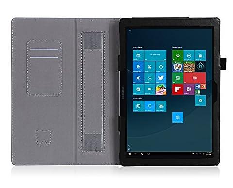 ISIN Housse pour Tablette Série Étui Premium PU avec Support pour Samsung Galaxy TabPro S de 12 pouces SM-W700 W703 W708 Windows 10 2 en 1 Laptop Tablette Avec Sangle Velcro et Slot Cartes (Noir)
