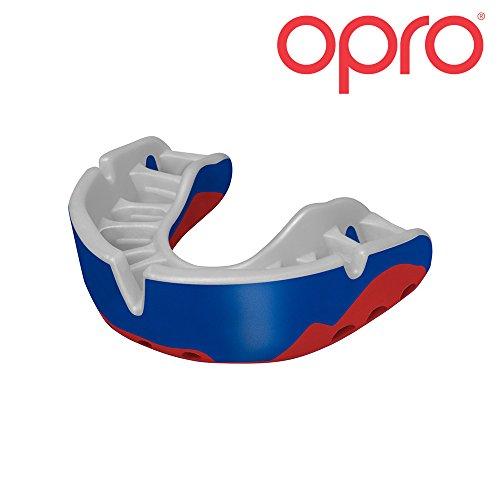 OPRO Mundschutz GEN 3 Platinum - Damen/Herren/Kinder Zahnschutz für Handball, Karate, Rugby, Hockey, MMA, Boxen, American Football, Basketball - selbst anformbar - im UK entworfen & hergestellt (Blau, Weiß und Rot)