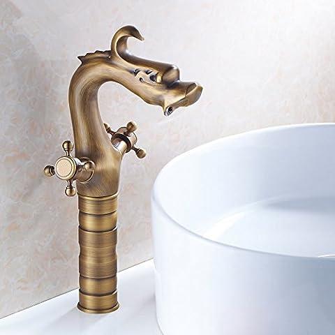 SBWYLT-Grifo de lavabo europeo antiguo cobre caliente y fría doble manija