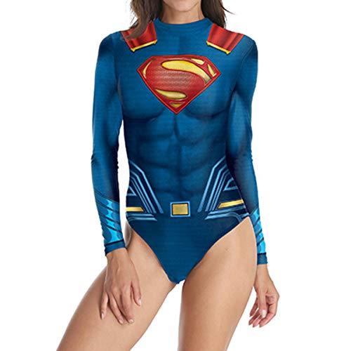 y Kostüm Frauen Justice League Bademode Badeanzug Schwimmen Kostüm Langarm Strand Badeanzüge,A-L ()