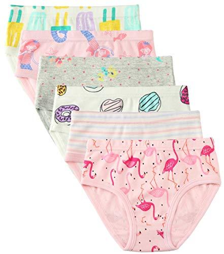6 Pack Kleines Mädchen Unterwäsche Baumwolle Fit Alter 1-7, Baby Mädchen Höschen Kleinkind Mädchen Unterwäsche (Krapfen, 1-3 Jahre/Herstellergröße 100)