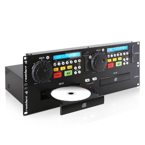 Resident DJ JY-2CD Doppel-CD-Player inkl. 2 Stereo-Chinch-Kabel (Cue-Funktion, einstellbarer Pitchbereich, 48cm-Rackeinbau möglich) schwarz