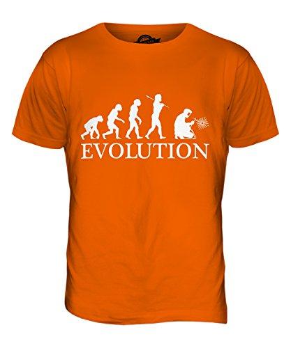 CandyMix Schweißer Evolution Des Menschen Herren T Shirt Orange