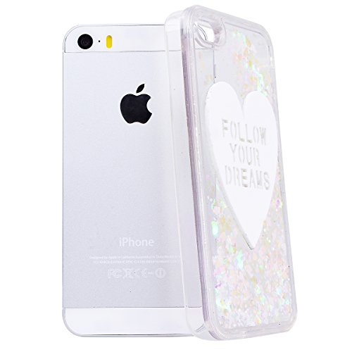 WE LOVE CASE iPhone 5 / 5s / SE Coque, Étui Transparente de Protection en Premium Hard Plastique Dur Housse Liquide et Clair, Bumper Bling Cas Briller Couverture avec Paillette Ecoulement Flottant Mot blanc