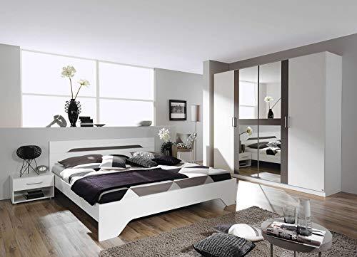 avanti trendstore - rubi - camera da letto completa, compreso fusto del letto matrimoniale con 2 comodini e l'armadio, disponibile in diverse colori