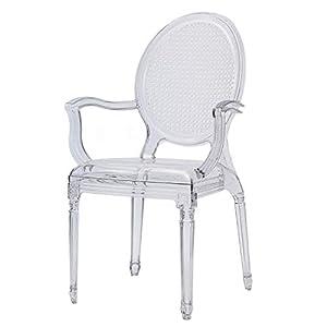 Damiware Cane Stuhl | Design Stuhl für Küche – Esszimmer – Wohnzimmer | Kristallklar Material | Retro Design (Cane Transparent)