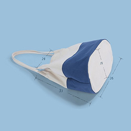 mixinni® Canvas Tasche Damen Eimer Tasche Schultertasche Tragbar Segeltuch Schulterbeutel Umhängetasche Messenger Tasche Weiß-Blau