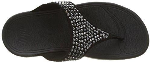 FitFlop Damen Glitzie Toe-Thong Sandals Peeptoe Schwarz (Schwarz)