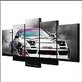 Moderne HD Gedruckt Leinwand Gemälde 5 Stücke Wandkunst Modulare Bilder Wohnkultur Japanischen Sportwagen Racing Rauch Poster 30x40x2 30x60x2 30x80cm