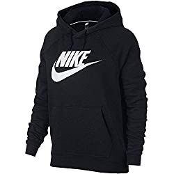 Nike W NSW Rally Hoodie HBR Sweat-Shirt Femme, Noir Black/White 010, FR (Taille Fabricant : XS)