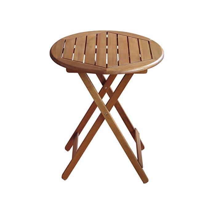 Colourliving Klapptisch Gartentisch Holz Massiv Akazienholz Rund 60 Cm Tisch Gartenmbel